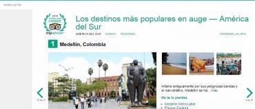 Medellín ganó premio Travellers' Choice en categoría Destinos en Auge